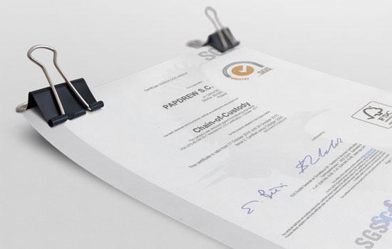Wszystkie nasze produkty posiadają certyfikaty FSC® oraz SGS