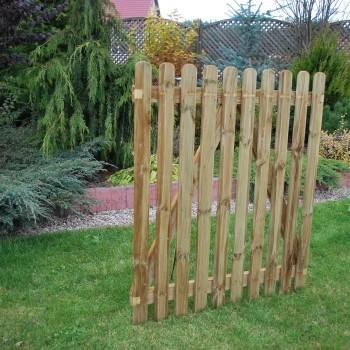 134. PICKET GATE - 1200h mm x 1000w mm RIBBED ONE SIDE - 10 PALINGS 18 x 70